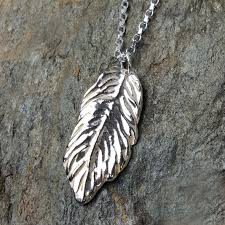 silver feather pendant necklace by volant sterling silver jewellery