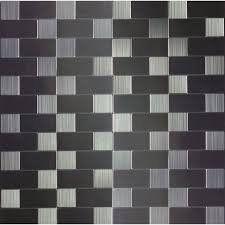 instant mosaic brushed stainless mosaic metal subway tile common 12 in x 12