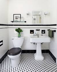 Wonderful Black And White Tile Floor Powder Room Decorpadcom Approx Tiling With Simple Design