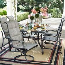 hampton bay outdoor dining set rustproof aluminum frame pewter finish 7 piece