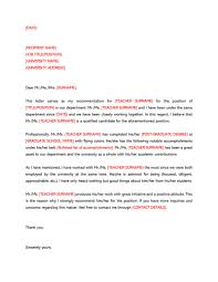 Free Letter Of Recommendation Template For College 009 Letters Of Recommendation Template Letter For Teacher