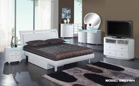 Emily White Glossy Bedroom Set by Global Furniture