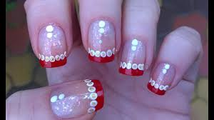 Nail Designs For Short Nails French Tip Cute Christmas Nail Art Festive French Manicure On Short Nails With Dotting Tool Tutorial