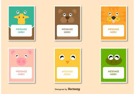 Photo Card Template Friendly Animal Characters Card Template Vectors Stock