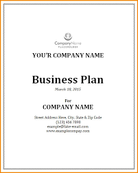 Business Proposal Cover Page Sample Business Plan Cover Page Business Plan Coverpage Template