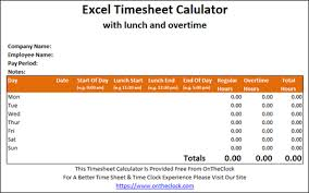timesheetcalculator free excel time card calculator with lunch and overtime ontheclock