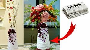 News Paper Flower Vase How To Make Flower Vase With Newspaper Newspaper Flower Pot Flower Vase Making Easy Craft Idea