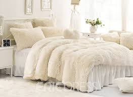 Vivilinen Solid Creamy White Super Soft 4 Piece Fluffy Bedding Sets