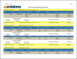 report viewer argos evisions invoice vendor