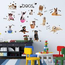 dog wallpaper for walls. Simple Dog Cartoon Dogs Wall Art Mural Decal Sticker Kids Boys Girls Room Wallpaper  Decoration Decor Home Large Stickers For  Intended Dog Walls