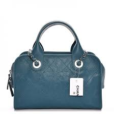 CHANEL Caviar Quilted Small Deauville Bowling Bag Blue 209746 &  Adamdwight.com