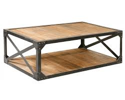 Coffee Table Industrial Industrial Metal And Wood Coffee 51 Table Rectangular Cocktail