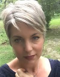 Stephanie Weisend Grey Hair Pixie Grey Short Haircut Silver