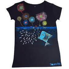 fireworks hand painted t shirt