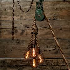 kitchen rope lighting. pulley light barn wood pendant manila rope rustic chandelier industrial kitchen lighting
