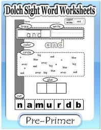 Pre Primer Dolch Dolch Sight Word Worksheets Preprimer Kaylees Education Studio