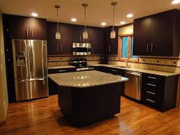 small kitchen cabinet ideas. Modern Kitchen Designs Feats L Shaped Doff Dark Cabinets With Ceiling Lights And Chrome Appliances As Small Inspirations Cabinet Ideas