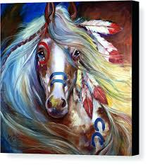 fabulous horse canvas art horse canvas print featuring the painting fearless war horse by horse canvas