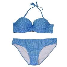 Pixie Pier Womens Blue Allover Pattern Halter Top 2 Pc Bikini Swimsuit Xs L