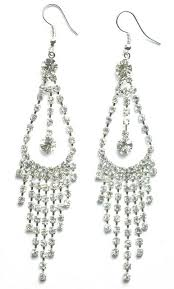 silver tone and diamante chandelier drop earrings