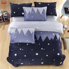 home textile blue star bedding set whale cat king queen winter warm flannel fleece duvet cover soft bed sheet kids bedding