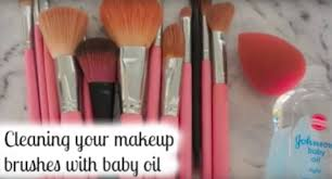 how to clean makeup brushes with baby oil
