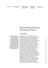 Design Thinking Public Policy Pdf Rethinking Design Thinking Part I