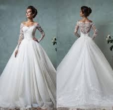 Amelia Sposa 2016 Cheap Lace Wedding Dresses Long Sleeve Fall