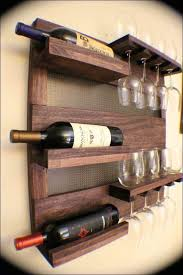 decoration creative furnitures wall mounted wine racks from vintage wooden materials equipped with wine glass holder can be extra ornaments