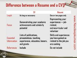 difference cv resumes