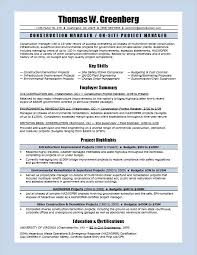 project management skills resume samples construction manager resume sample monster com
