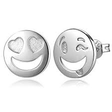 JewelryPalace 925 Sterling Silver Wink Smiley Emoji ... - Amazon.com