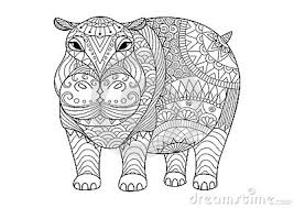 hand drawn zentangle hippopotamus for coloring book for tattoo shirt design and other decorations