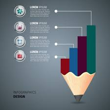 Business Infographic Template Colored Pencil And Chart