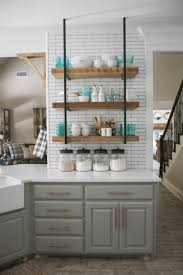 kitchen kitchen open shelving design open shelving dark cherry wooden counter smooth black granite countertop simple