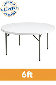 6ft round plastic folding table