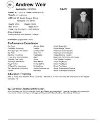 Sample Theatre Resumes Theatre Resume Example Acting Resume Template Sample