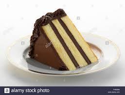 Slice Of Vanilla Cake With Chocolate Frosting Stock Photo 88959885