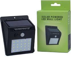 nanotek solar powered led wall light motion pir sensor and cds night sensor 20 led