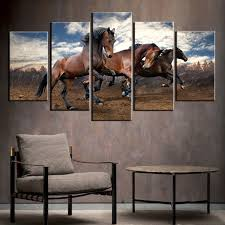 canvas print wall art painting home decor running wild horse brown horses paintings modern artwork for on wild horses wall art with canvas print wall art painting home decor running wild horse brown