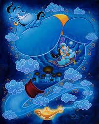 Genie With The Magic Lamp Of Aladdin And Princess Jasmine On The