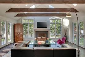 Vaulted ceiling beams living room contemporary with tall windows corner  hutch lots of windows