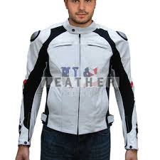 white motorcycle custom leather jacket for men