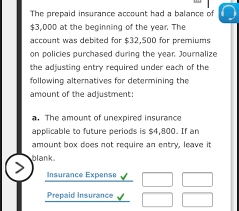 Unexpired insurance  1 answers  Solved The Prepaid Insurance Account Had A Balance Of 3 Chegg Com