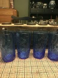 cobalt blue water glasses uk lot of 3 vintage beverage with windmill design s cobalt blue water glasses