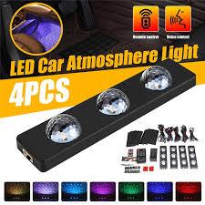 4X 12LED <b>Car Interior</b> Colorful <b>USB</b> Atmosphere Music Lamp ...