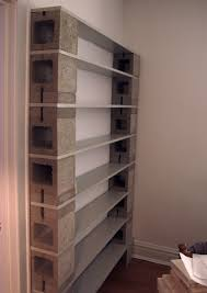 Tall Narrow Grey Concrete Block Open Shelves Having 8 Gray Wooden Trays  Attached On White Painted Wall, Remarkable Fancy Cinder Block Shelves For  ...