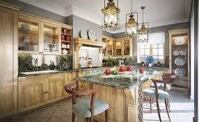 traditional kitchen lighting ideas. Traditional Kitchen Lighting Ideas With Triple Brass Chandeliers Over Island Butcher Block Seating N