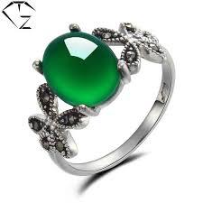 GZ 100% <b>S925</b> Solid Thai <b>Silver Green</b> Stone <b>Ring New</b> Fine ...