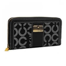 Coach Kristin Lock In Signature Large Black Wallets ETK